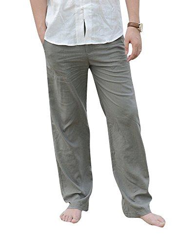 Taille Lin Pantalon Pantalons Elastique Armée De 3xl Confortable Lâche Plage Homme Casual Vert vmn0wN8O