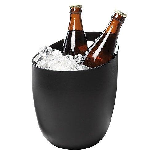 Elastofit 2er-Set Flaschenkühler Eiseimer Bierkühler Weinkühler in Edlem Matt-Schwarz aus Robustem Kunststoff