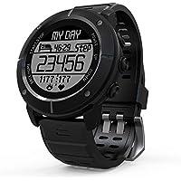 Erduo Pantalla DE 1,2 Pulgadas Impermeable Senderismo al Aire Libre Ejecución del Reloj Inteligente Monitor de Ritmo cardíaco GPS Termómetro Reloj Deportivo - Negro