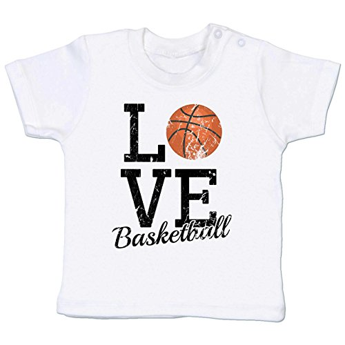 Sport Baby - Love Basketball - 6-12 Monate - Weiß - BZ02 - Babyshirt Kurzarm