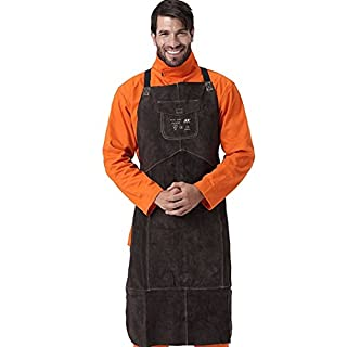 Professional Leather Welding Apron, Welder Protect Clothing Carpenter Blacksmith Gardening Work Cowhide Clothing (Brown)