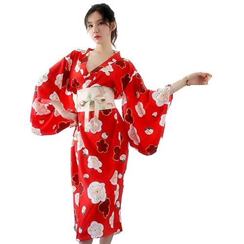 Sexy Dessous Frauen im japanischen Stil Versuchung Cosplay Kostüm Silk Floral Deep V Dessous Robe Nachtwäsche Kleid, rot Silk Floral Kleid