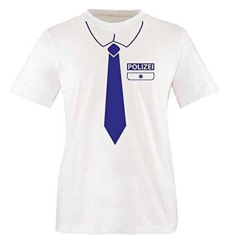 Comedy Shirts - Polizei KOSTÜM - Kinder T-Shirt - Weiss/Royalblau Gr. 122-128 (Womens Fashion Polizei Kostüm)