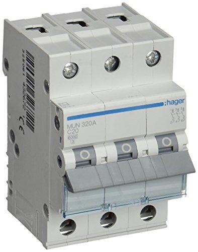 Hager serie mu - Interruptor automático 3 polos 20a curva-c 6ka