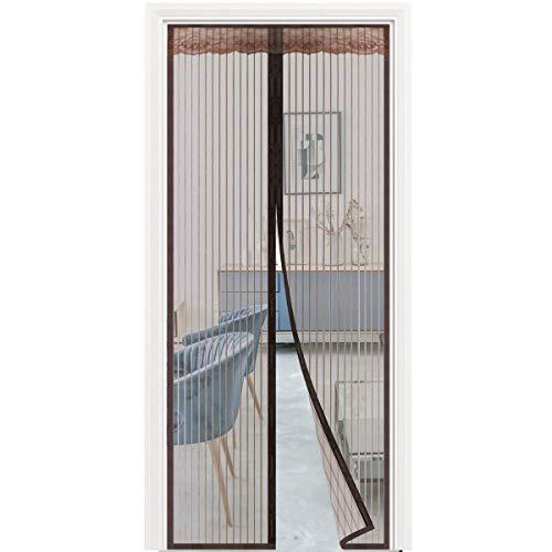 Puerta mosquitera magnética, puerta mosquitera con 32 imanes, cortina de malla resistente con gancho de marco completo y pasta mágica para puerta de patio, antimosquitos 35 x 82