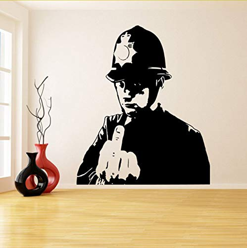 Wuyyii Polizist Graffiti Vinyl Wandaufkleber Polizei Mittelfinger Zimmer Aufkleber Dekor Scotland Yard Cop Street Art Design (Designs Yard-art Halloween)