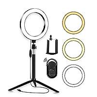 ضوء حلقة Andoer مع حامل 8 بوصة قابل للتعتيم ثنائي اللون ضوء فيديو 3 أنماط إضاءة مع عصا سيلفي حامل هاتف ريموت للتحكم عن بعد للبث المباشر صنع صور فيديو