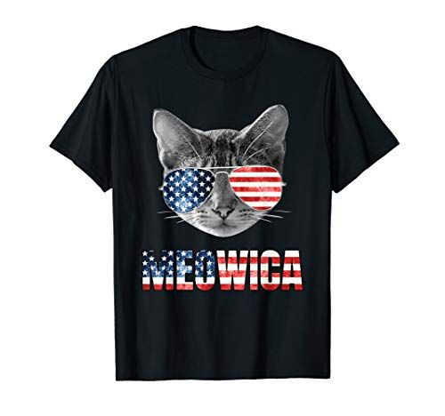 USA Meowica Lustige Katze Mit Amerikanischer Flagge America T-Shirt