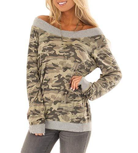 Legendaryman Frühling und Herbst Damen Oberteile Casual Camouflage Pullover Jumper T-Shirts Blouse Mode EIN Wort Kragen Langarm Sweatshirt Tops Pulli Tuniken