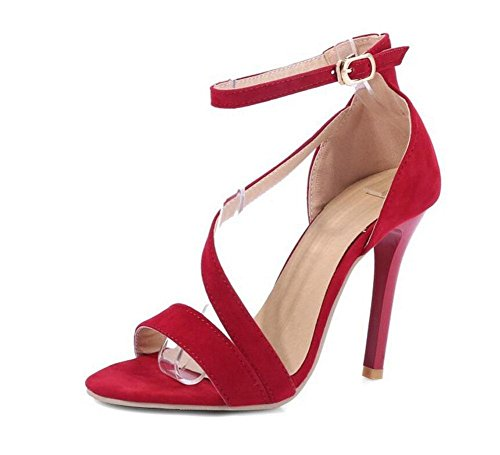 GLTER Frauen Peep-Toe Pumps High Top Kn枚chelriemen Sandalen High Heels Court Schuhe Rot Schwarz Red