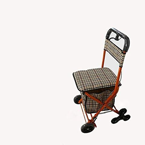Personas mayores plegable carrito de compras pueden tomar el ocio supermercado compras Walker Lane con asiento acolchado