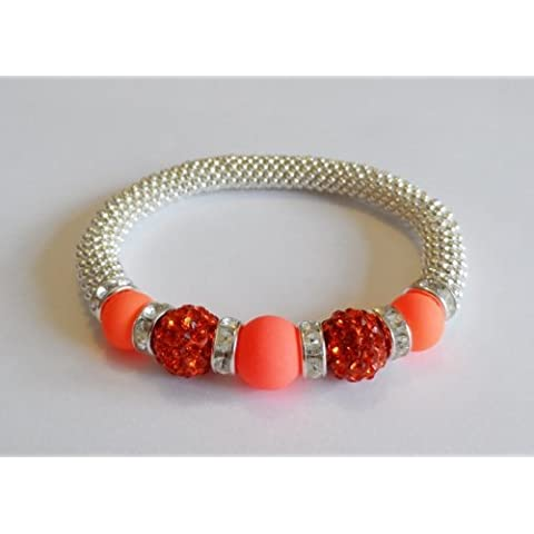 1 x Stunning Snowflake Neon Orange Glass & Hyacinth Clay Disco Bead Bling Stretch Bracelet Kit. No Tools Required by Angel Malone - Tie Nail Knot