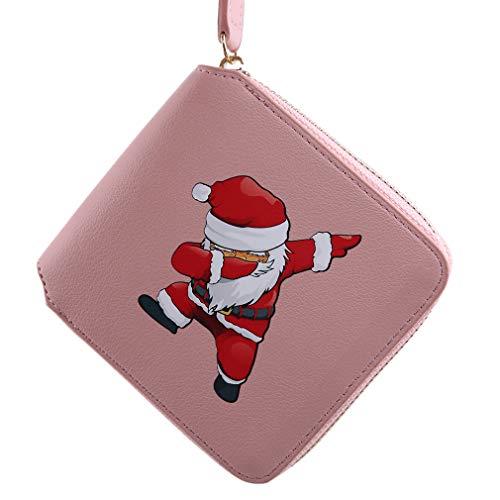 HYhy Hy schöne gedruckte Weihnachtsmann Muster Kurze Brieftasche Frauen Leder Weihnachten Münze Geldkartenhalter, rosa