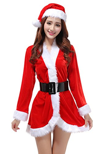 n-Kostüm Langarm Damen Nikolaus Cosplay Weihnachtskleid Party Christkind Kleid (Rot) ()