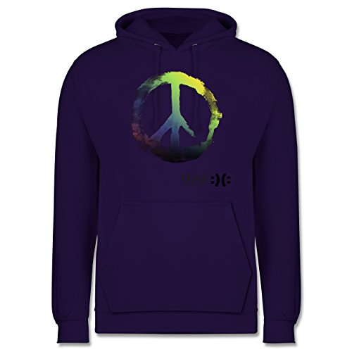 Statement Shirts - Frieden, bitte - Peace, please - Peacesymbol bunt - XS - Lila - JH001 - Herren Hoodie (Hoodie Lila Peace)