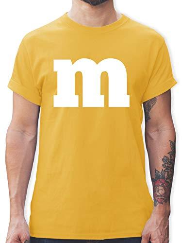 Karneval & Fasching - Gruppen-Kostüm m Aufdruck - XXL - Gelb - L190 - Tshirt Herren und Männer T-Shirts