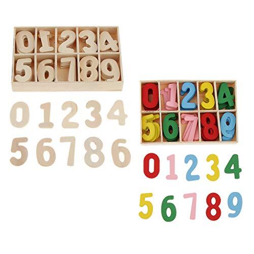 B Baosity 2 Boxen 60 Stück Bunte Hölzerne Arabische Zahl Holzspielzeug, Farbe und Anzahl kognitive