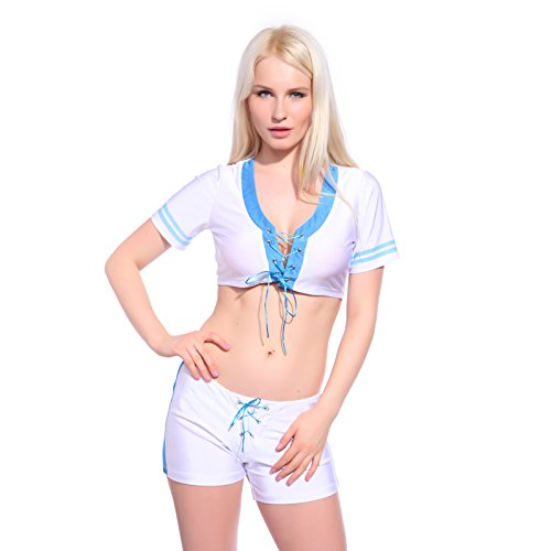Sexy Cheerleader Kostüm Uniform Cheerleading Cheer Leader Kostüm Kleider Schoolgirl GOGO Girl Gr. S M L (S)