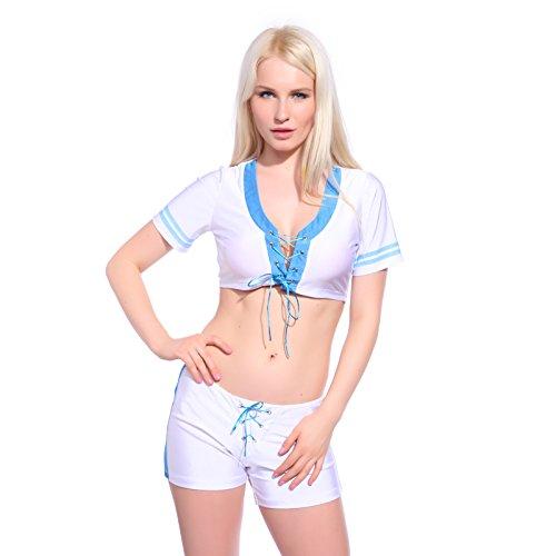 Kleid Kostüm Gogo - Sexy Cheerleader Kostüm Uniform Cheerleading Cheer Leader Kostüm Kleider Schoolgirl GOGO Girl Gr. S M L (S)