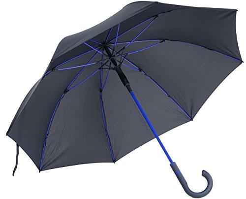 vanVerden - Automatik Regenschirm - Sturmfest (TÜV geprüft), Windfest, Leicht, Stabil - Fiberglas Rahmen 112cm Durchmesser, 90cm Länge, Farbe:Anthracite/Euroblue -