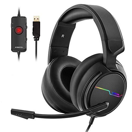 Jeeoo USB Pro Gaming Headset für PC - 7.1 Surround Sound Kopfhörer mit Geräuschunterdrückung Mikrofon - Memory-Schaum Ohrpolster RGB-Licht für Laptops - Gamer Licht T-shirt