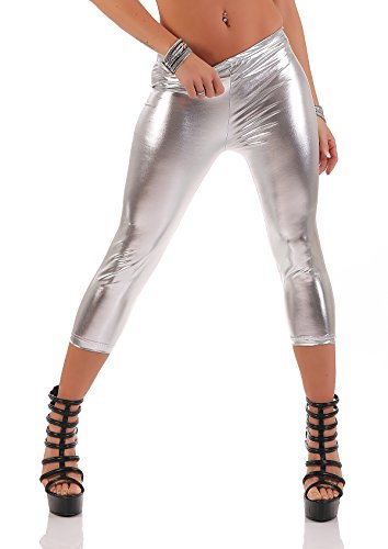 3/4 Leggings Capri Wet-Look Glanz Matt Schwarz, Gr. S M L XL XXL 3XL, L-P950 Silber Glanz 3XL/46