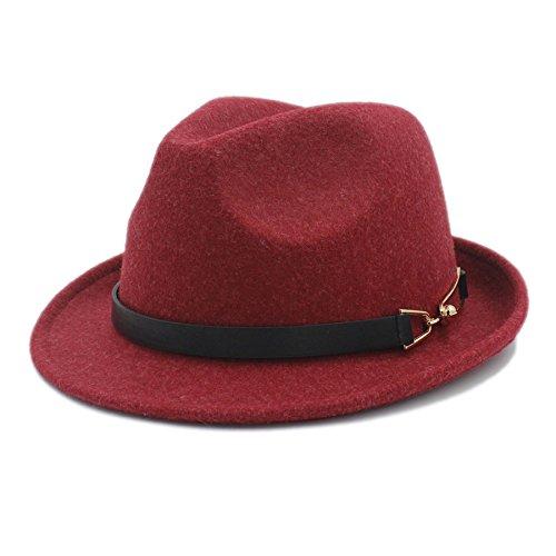 COOHO Kirche Derby Cloche Sun Cap Frauen Männer Chapeau Femme Fedora Hut Für Gentleman Sombrero Cap Elegante Dame Trilby (Farbe : Rot, Größe : 57-58 cm) -