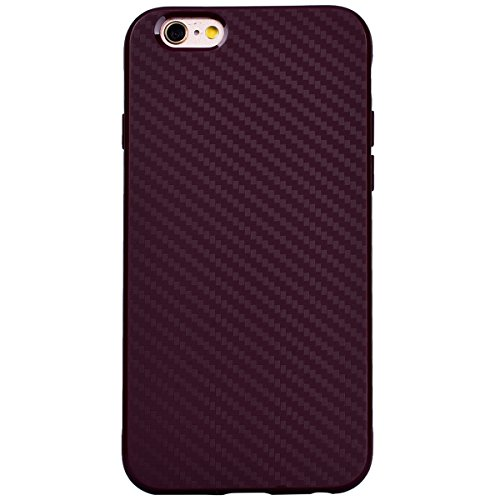GrandEver Coque iPhone 6 / iPhone 6s Silicone Bordeaux Carbone Flexible Doux TPU Couleur Unie Ultra Fine Mince Housse de Protection Case Etui pour iPhone 6 / iPhone 6s Bordeaux