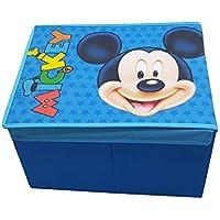 takestop Caja ratón Mickey Mouse Clubhouse Club House Disney Junior 40x 30x 25cm Contenedor Tapa Reposapiés Puff Design Cámara Dormitorio decoración para Juegos Juguetes