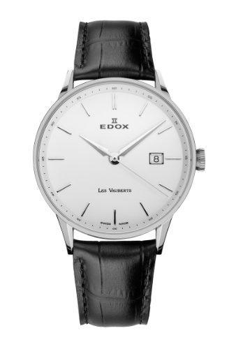 Edox Les Vauberts Date elegante Herrenuhr 8mm flach 70172 3A AIN