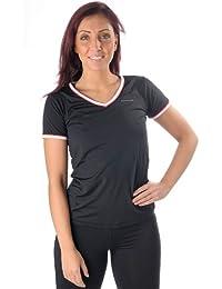 PURE LIME V-Neck T-Shirt Shirt encolure en V avec passepoil noir