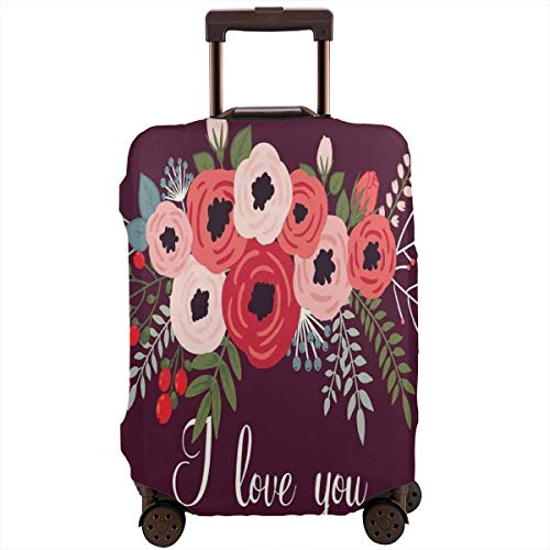 Travel Luggage Cover,Bouquet of Spring Poppies and Hand Written Style I Love You Mom Suitcase Protector China Spring Bouquet