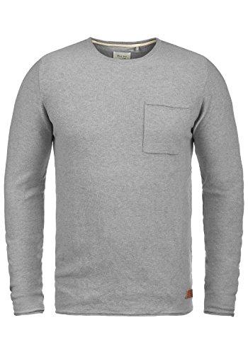 Blend Francisco Herren Strickpullover Feinstrick Pullover Mit Rundhals Und Brusttasche Aus 100% Baumwolle, Größe:M, Farbe:Zink Mix (70815)