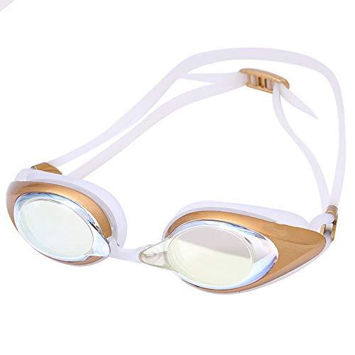 YYSWIM Tauch Verspiegelte Schwimmbrille,Unisex verchromte Linse reflektierend wasserdicht Anti-Fog und Anti-UV Reisegold -