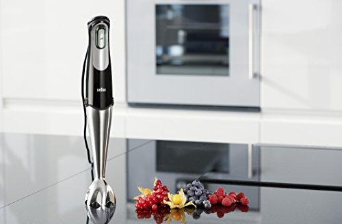 Braun Minipimer 7 MQ700 Soup Batidora de Mano Eléctrica, Tecnología SmartSpeed, Campana Anti-salpicaduras, Vaso Medidor, 750 W, Negro y Plata