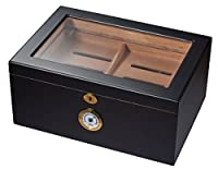 Visol Rainier Glass Top with Matte Finish Cigar Humidor which Holds 100 Cigars, Black