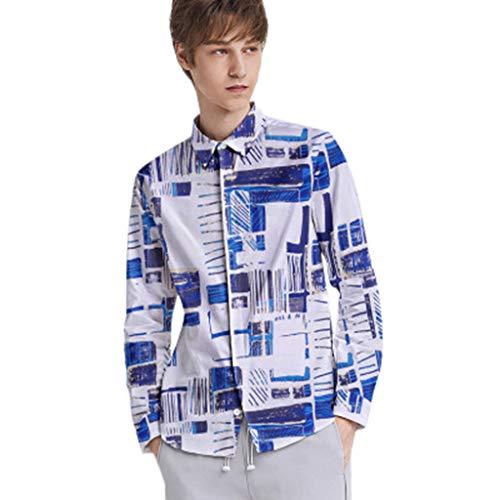 BHYDRY Mens Herbst Lose Mode Lässig Täglich Gedruckt Langarm Shirt Top Bluse(Large,Weiß) (Jungen Farbige Jeans Größe 12)