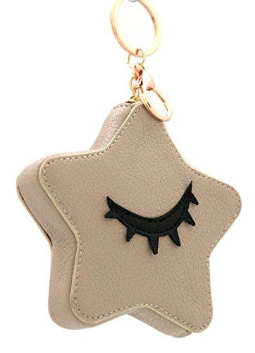 Schede di disegno forma MENKAI della borsa della stella, cerniera con portachiavi. Beige