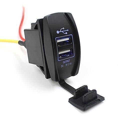 TurnRaise Impermeable 3.1A USB Toma Enchufe Cargador Adaptador para Coche Moto Barco