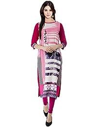 Indistar Pink Liva Rayon 14 Kg Digital Printed Casual/Party Wear Kurta/Kurti For Womens