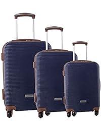 Série de 3 valises rigides PIERRE CARDIN bleu bagages de cabine S191