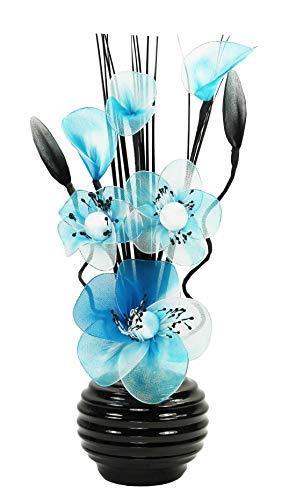 Himmelblau Künstliche Blumen Mit Schwarz Vase, Deko, Wohnaccessoires & Deko Geeignet für Bad, Schlafzimmer Oder Küche Fenster / Regal, 32cm