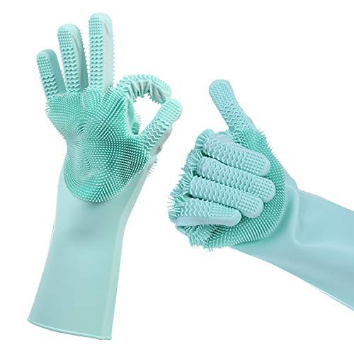 Magische Silikon-Spülhandschuhe mit beidseitigem Waschwäscher, 2 in 1 hitzebeständige Silikon-Spülhandschuhe Reinigungshandschuhe für Küchen-Badezimmer-Autowäsche-Haustier-Haar-Reinigung (Blau) -