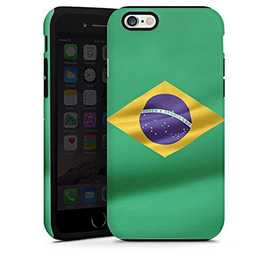 Apple iPhone 4 Housse Étui Silicone Coque Protection Brésil Drapeau Brésil Cas Tough terne
