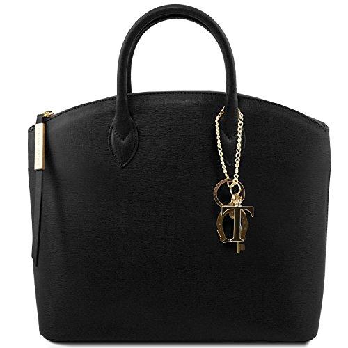 81412614-KL - TUSCANY LEATHER: TL KEYLUCK -N- Sac cabas en cuir Saffiano - Moyen modèle, noir