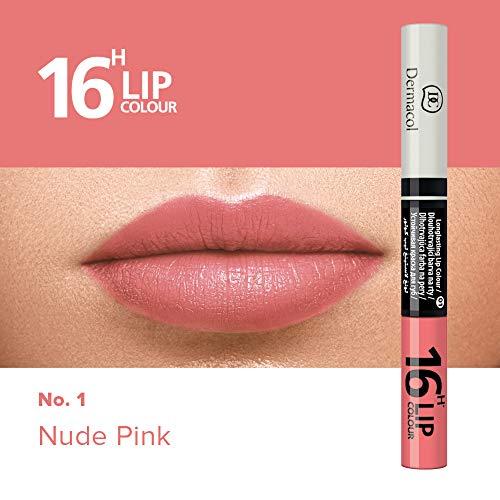 Dermacol 2-in-1 langanhaltende Lippenfarbe & Gloss Kussecht und ohne Lippenstiftflecken - Brillanter Lippenstift mit kräftiger Farbe - Lipstick 16H, Nr. 1 Nude-Pink, 7,1 ml -
