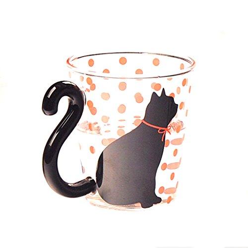 Puntos Rojos Linda Creativa De Vidrio Gatito Gato Taza De La Taza De T
