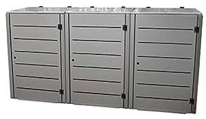 Gero metall Müllbehälterverkleidung Eleganza Line für DREI 240 Liter Mülltonnen