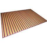 Alfombra de bambú de rayas multicolor (250x180)