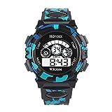 Bainuojia Jungen Digitaluhren, Kinder Sport 5 ATM Wasserdicht Digital Uhren mit Alarm/Timer/EL Licht, Kinderuhren Outdoor Armbanduhr für Jugendliche Jungen (Black)